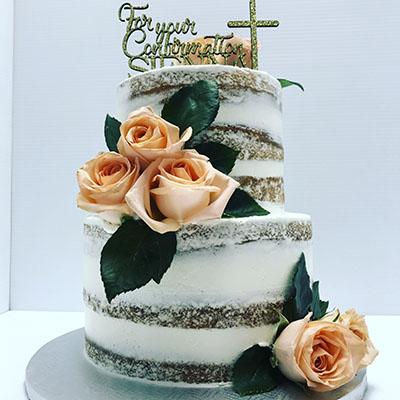 Floral Confirmation Naked Cake
